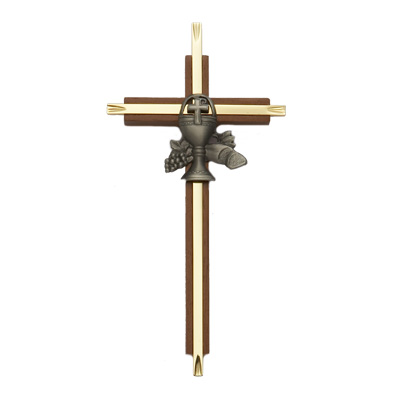 "7"" Brass/Oak Cross with Fine Pewter Communion Chalice Casting"