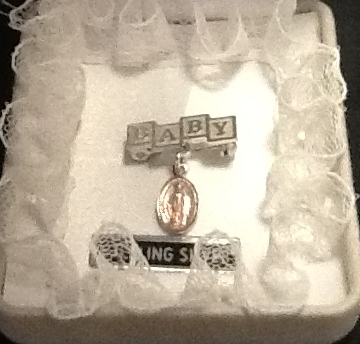 Baby Crib Pin with Miraculous Medal