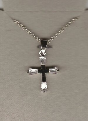Sterling Silver Cross with a Rhodium Finish