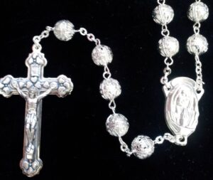 Silver Colored Sphere Rosary