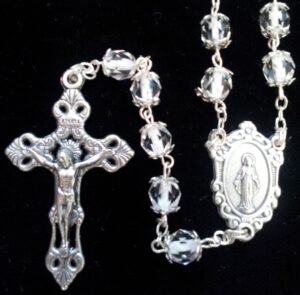 Clear Bead with White Center Rosary