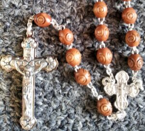 Brown Wooden Sphere Beaded Rosary