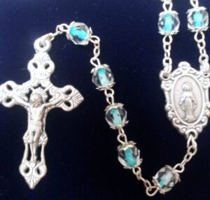 Clear Beads with Turquoise Center Rosary