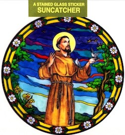 Stained Glass Static Window Cling / Sun Catcher St. Francis